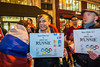 """Paris, France. Public Demonstration, French LGBT Group, """"All Out"""", Protesting Against the  recently passed Homophobic Law.  in Russia, and the Opening of the Olympic Games in Sochi, In front of McDonald's Restaurant, Official Sponsor of the Games; 05/02/2014"""