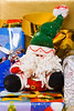 Santa puppet and decorated gift boxes with ribbons