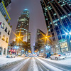 charlotte nc usa skyline during and after winter snow storm