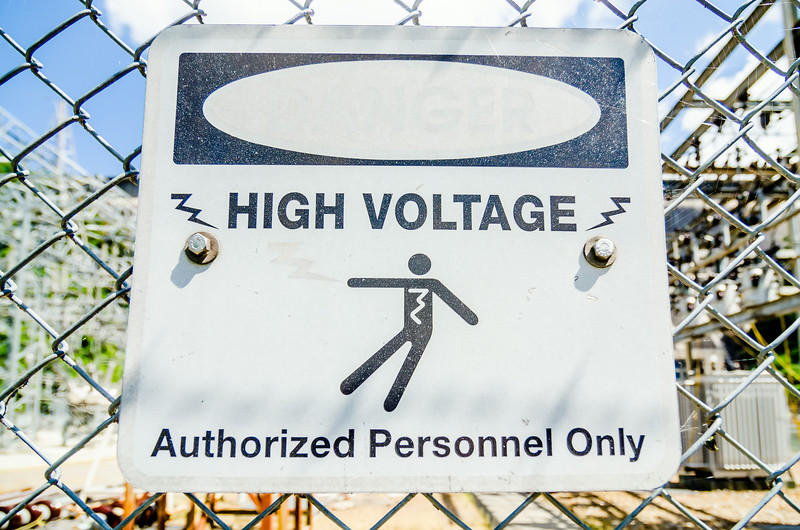 white and black danger warns trespassers away from this substation.