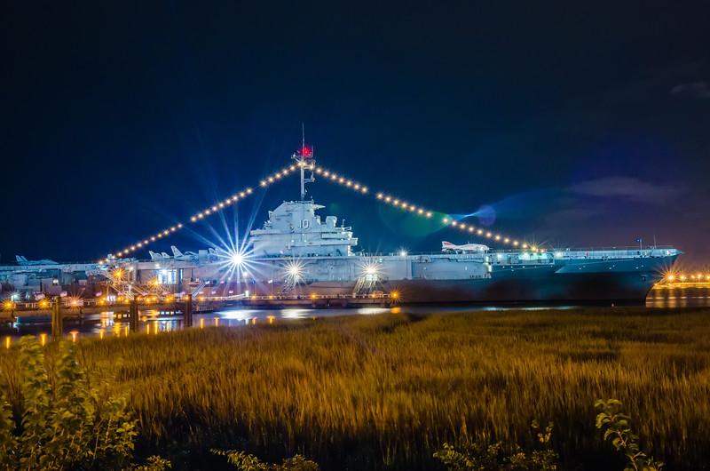 The Yorktown Museum at Patriot's Point in Charleston Harbor South Carolina at night