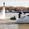 extreme sports of water jetpack flyboarding