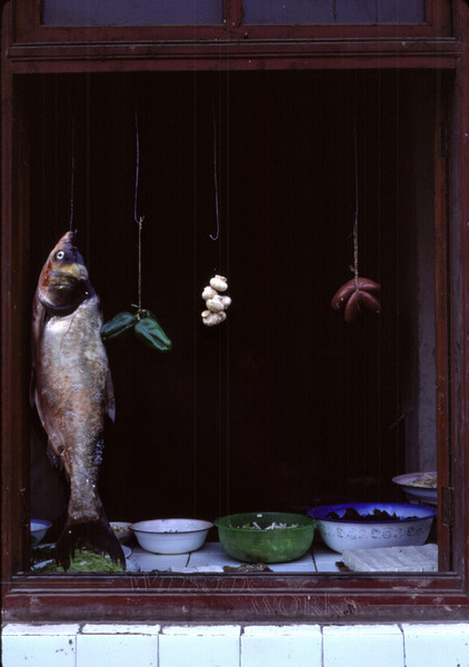 Restaurant window along the road between Nanchong and Chengdu. This photo won one of the Kodak International Snapshot Awards (KINSA) in 1988. Judges thought it had been taken in the Italian market in Philadelphia!