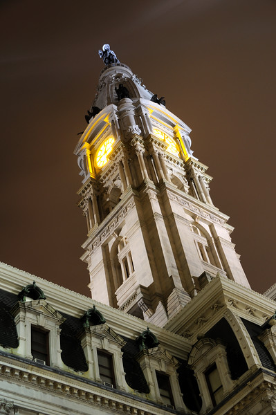 Philadelphia City Hall Clock Tower at Night