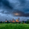 thunder storm clouds over charlotte skyline