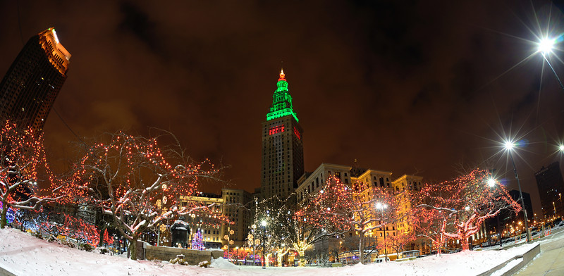 Terminal Tower and Cleveland Christmas Lights taken with a fisheye lens