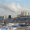 Smoke from gas plant accross open field in Moscow Russia