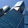 Modern building construction at Moscow City development with shiny glass and steel in Moscow Russia