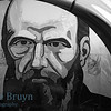 Dostoevsky subway station with portrait of the writer in marble tiles on a wall