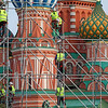 Construction work in front of orthodox church Cathedral St. Vasily the Blessed (Saint Basil's) on Red Square in Moscow Russia