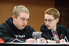 Will Morgan and Elijah Shina sort out an answer for the Meyzeek Middle School team during the Governor's Cup State Finals Quick Relay Event at The Galt House Hotel on Sunday morning.