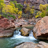 Waterfall In Autumn Zion National Park