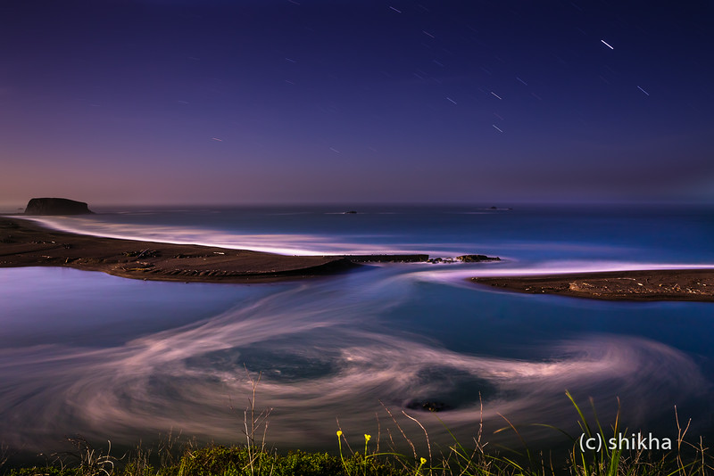The second largest river in California,the Russian river meets Pacific Ocean in near full moon light