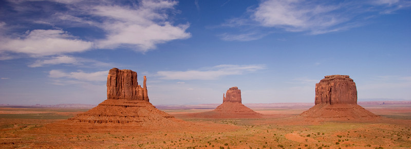 Merrick Butte and The Mittens wide panorama Monument Valley in the Navajo Tribal Park, northeastern Arizona, USA