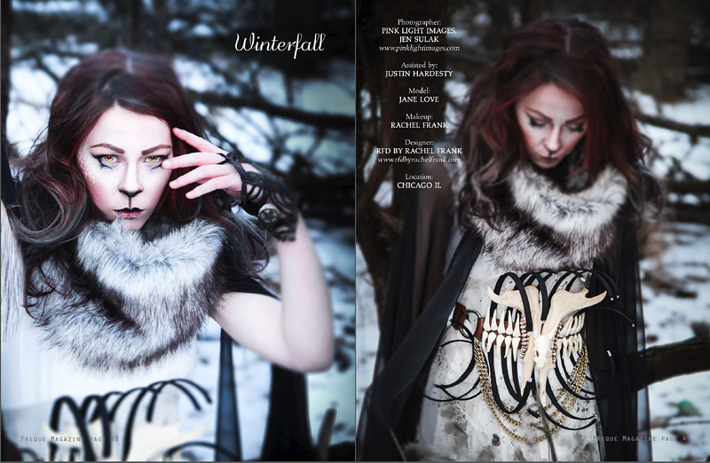 PUBLISHED: Freque Magazine Volume 8, March 2014 Photography: Pink Light Images Model: JANE LOVE Designer/MUA: Rachel Frank, RFD by Rachel Frank Assisted by: Justin Hardesty (created in Chicago IL, Dec 2013) 14 degree weather, it was FREEZING!!! :)