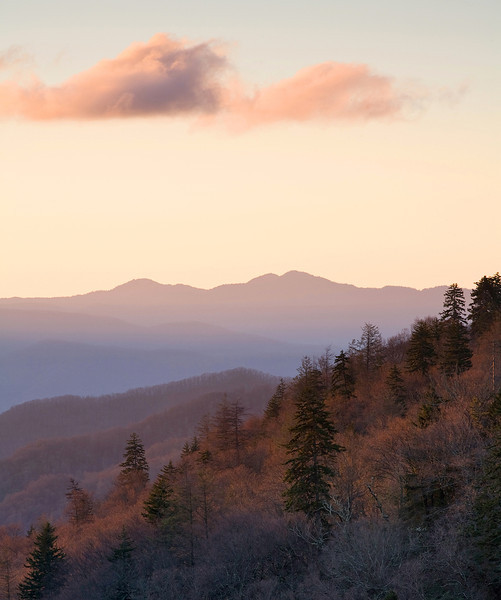 Sunrise at Newfound Gap located in the Great Smoky Mountains National Park, Tennessee
