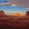 View of Monument Valley as Storm Clouds approach at sunset
