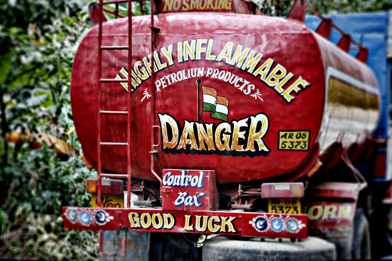 #419 Typical gas tanker truck, Arunachal Pradesh state, Northeast India