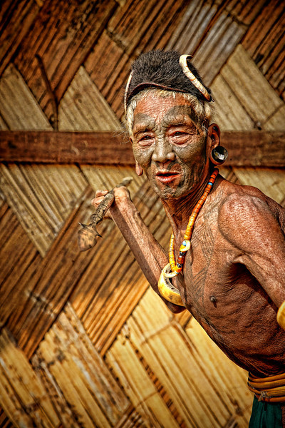 Former Naga headhunter, displaying his skill, Nagaland, Northern India
