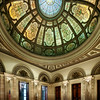 Grand Army of the Republic Rotunda...  This room at the Chicago Cultural Center houses 30-foot walls of Knoxville pink marble, a mosaic floor, and a beautiful stained-glass dome in Renaissance pattern by the firm of Healy and Millet.