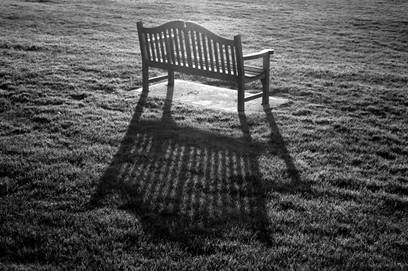 "A bench in the sunset photographed for the book ""America 24/7"" in Storrs, CT.  May 17, 2003.  © Brett Mickelson."