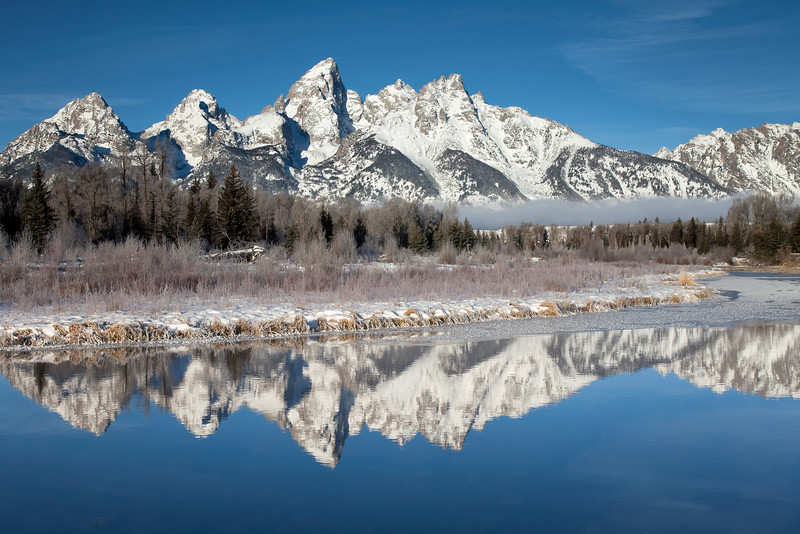 Blue Tetons - A chilly morning at Schwabacher Landing in Grand Tetons National Park.