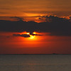 April 18 2014 Sunset on West of Galveston Island, Texas USA