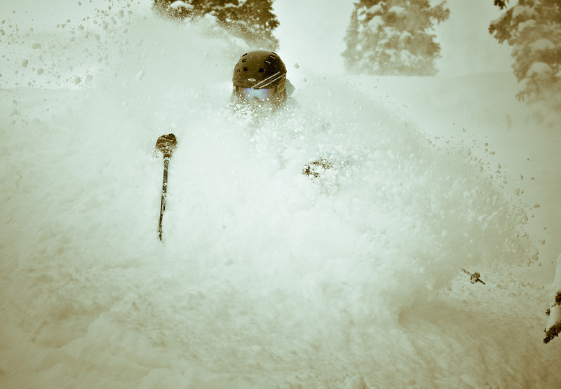 Athlete Jake Kirshner Skis fresh powder in spring at Snowbird Ski Resort