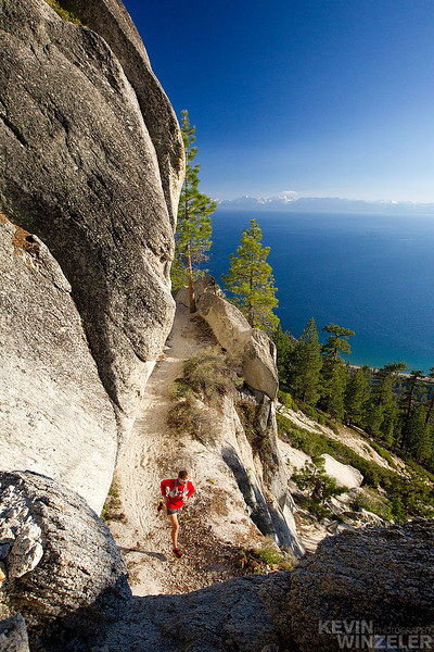 Xterra world champion and London Olympic hopeful Max King, enjoys a training run on the flume trail above the beautiful Lake Tahoe area.