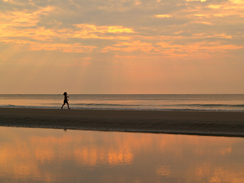 Little Girl Running to the Sea - Hunting Island