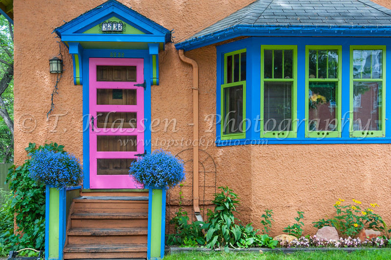A colorful door in Regina, Saskatchewan, Canada.