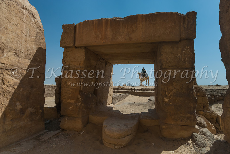Stone window frame structures in the ruins of cemeteries near the pyramids of Dashur, Egypt.