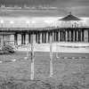 Manhattan Beach Pier with Life Guard Stand in B&W