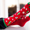 Colorful socks with individual toes for the Christmas season.
