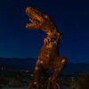 Tyrannosaurus Rex sculpture by Ricardo Bracedo for the Galleta Meadows Sky Art installation. Galleta Meadows owner Dennis Avery commissioned Bracedo to create many large metal sculptures for display on the open desert property he owns in Borrego Springs, California near Anza-Borrego Desert State Park. The original sculptures represented animals that roamed these lands many years ago, later sculptures reflect the history of the area, and the most recent are whimsical.