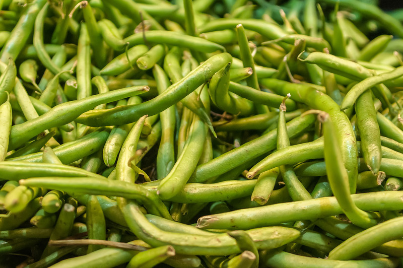 green beans on display