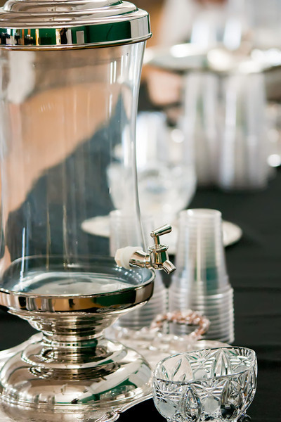 banquet table with drink dish