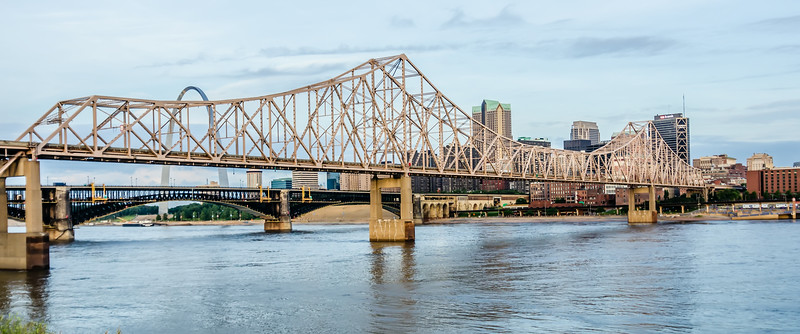 eads bridge, and martin luther king bridge as seen from the Mississippi River, in st louis, missouri
