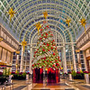 Image of big decorated Christmas tree in the mall