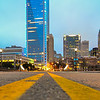 charlotte skyline view from a highway overpass bridge