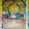 abandoned building walls full of graffiti