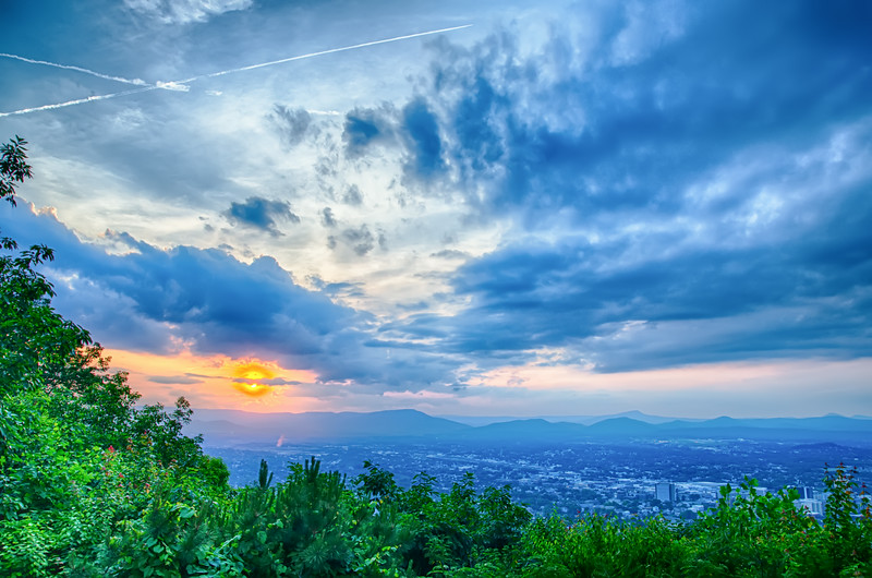 Roanoke City as seen from Mill Mountain Star at dusk in Virginia, USA.