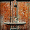 Old wooden door nailed shut