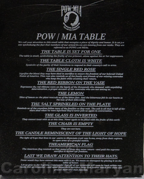 POW/MIA Table Sign on the USS Harry S. Truman