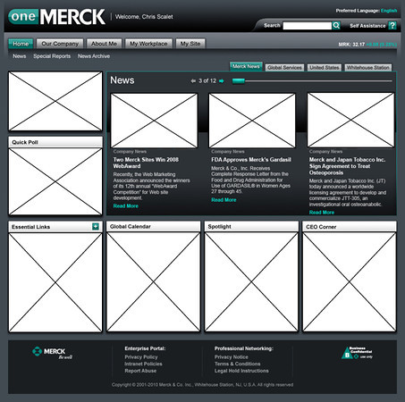 Wire Frame for One Merck internal site