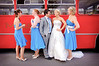 Bridal party with a vintage Midland Red Bus used for the wedding transport