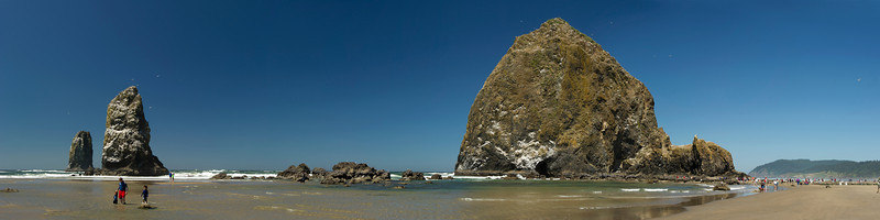 Haystack Rock and the Needles from the south. 12x36 Panorama. 10 images stitched together.