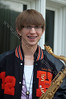 Senior Band - Saxaphone prop - Senior Picture with letterman jacket