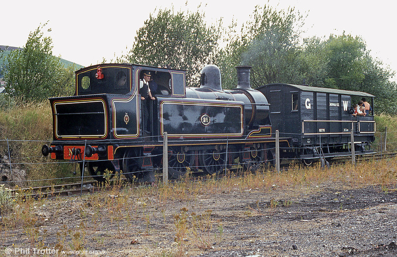 Taff Vale Railway 0-6-2T no. 28 at Caerphilly in August 1984. In 1922, the loco passed to the GWR as its no. 450.