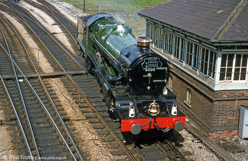 Spotlessly clean, 6000 'King George V' at Hereford whilst working a 'Welsh Marches Express' on 18th April 1981.